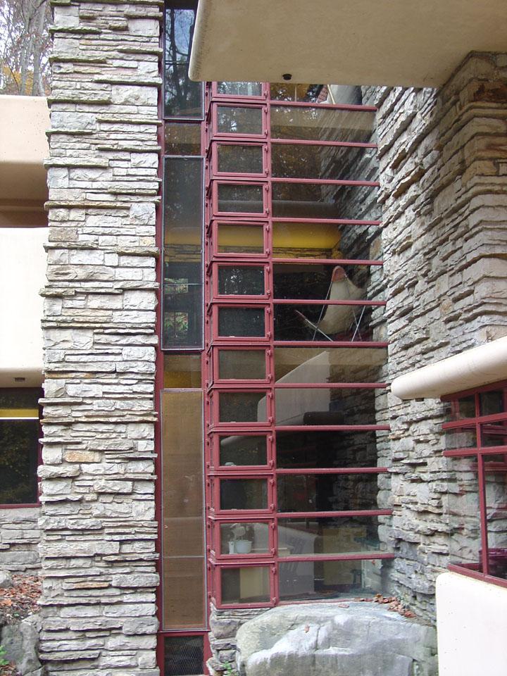 Interior of Fallingwater, a Frank Lloyd Wright designed ...