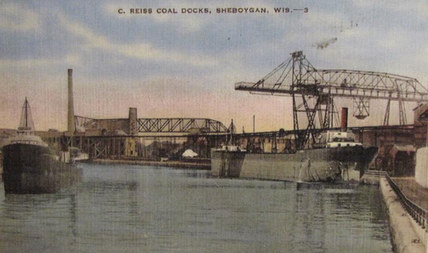 Wisconsin-Sheboygan-C Reiss Coal Docks-Steamer-Vinage